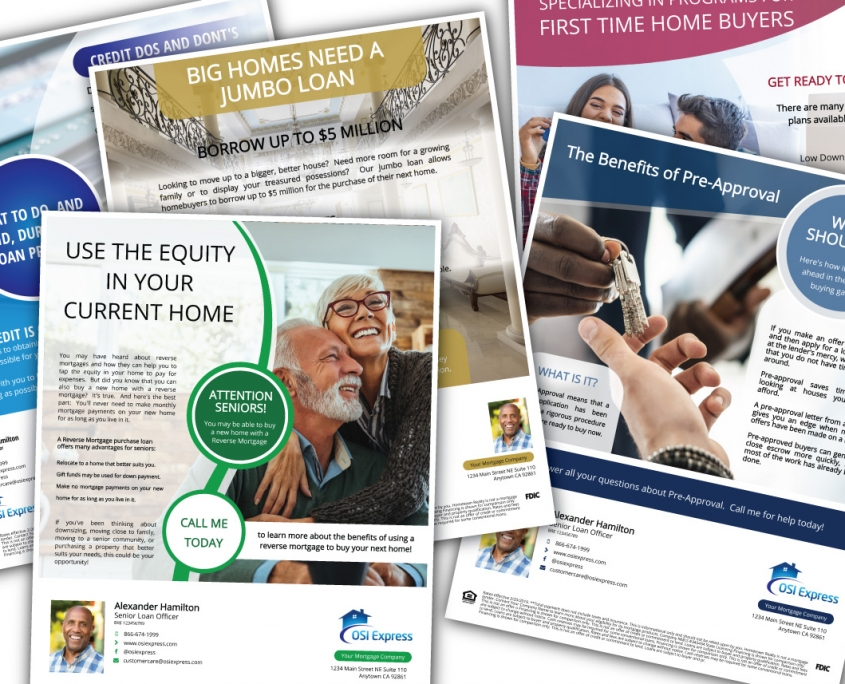 Over 100 stunning loan officer marketing flyers. Just like all of the house listing flyers, your profile and branding colors automatically display. Share any mortgage marketing flyer, open house flyer or other property flyer on social media.