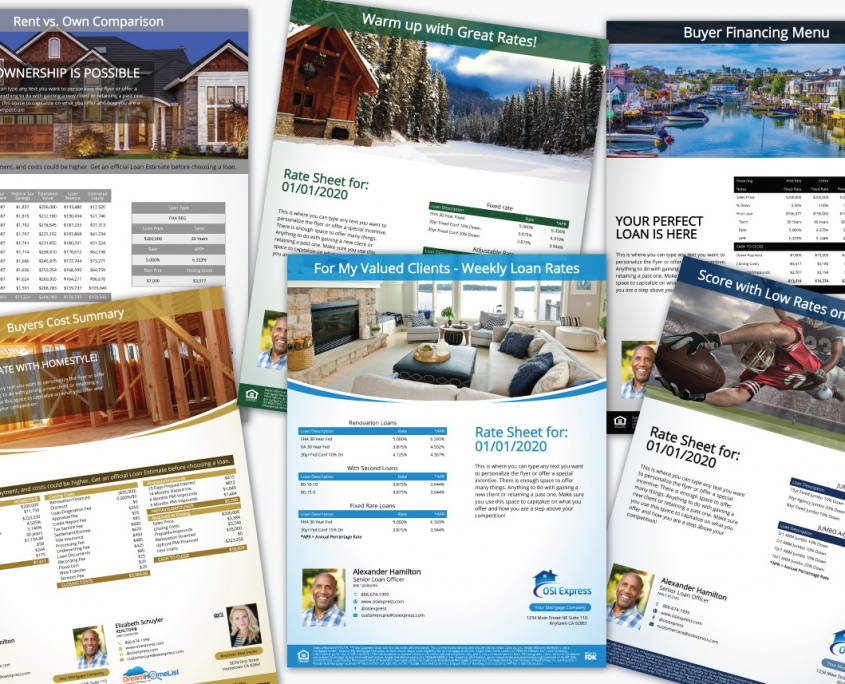 Rate sheet marketing flyers are quick and easy. The same automatic loan calculations used for home financing flyers are used to correctly calculate the APR. Each rate sheet flyer is branded with your profile and colors, just the same as the house flyers.