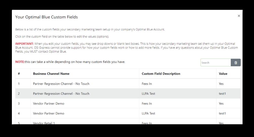 Optimal Blue - OSI Express editing of your Optimal Blue Corporate Custom Fields