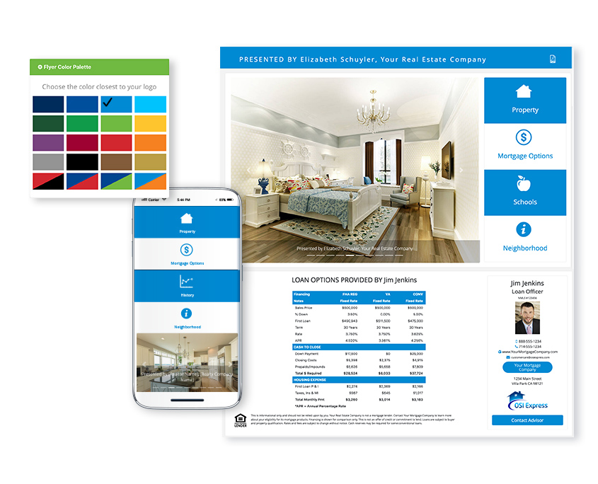 Customize property websites with colors that match your flyers