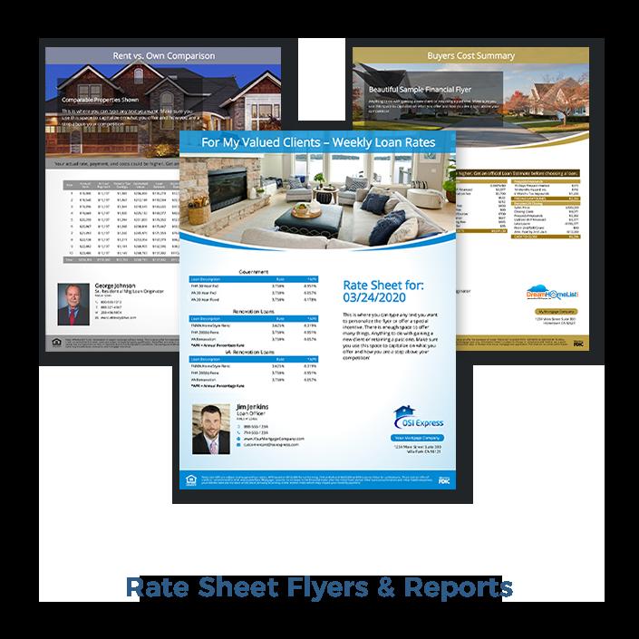 Rate Sheet Flyers & Reports, Loan Marketing Flyers
