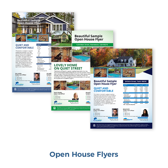 Open house flyers with your compliant loan calculations. House flyer software that makes it easy for loan officers to create co-branded home listing flyers for REALTORS®.