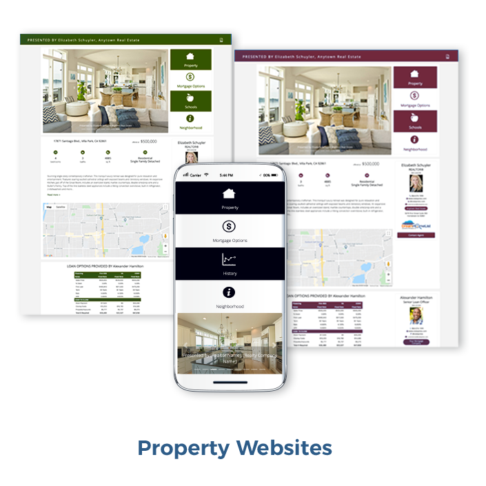 Beautiful home property websites showcasing the home listing that are co-branded for loan officer and REALTOR®. Consumers see neighborhood statistical data, the loan officer's loan options and all property photos. A PDF house flyer is available on the property website.