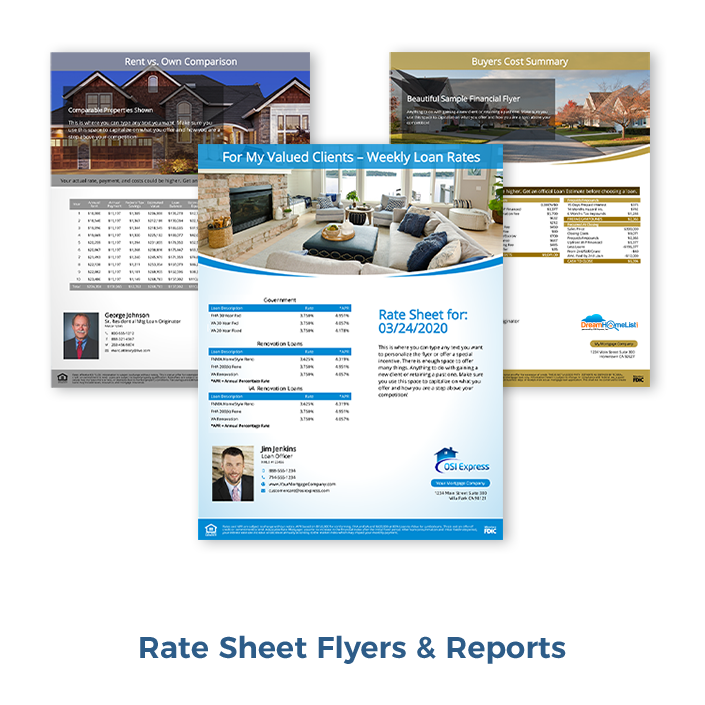 Rate Sheet flyers are included with the OSI Express open house software at no added cost.